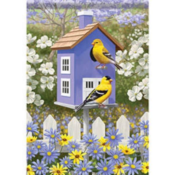 Garden Flag With Bird, Birdhouse  Flag, Garden Flag, Carson Flag, Garden Flag