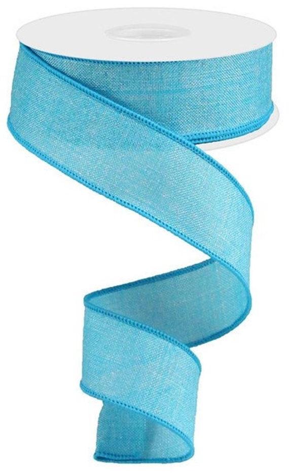 Turquoise Wired Ribbon, Fall Turquoise Ribbon, Denim 1 1/2 Inch Ribbon, 1.5 inch Ribbon