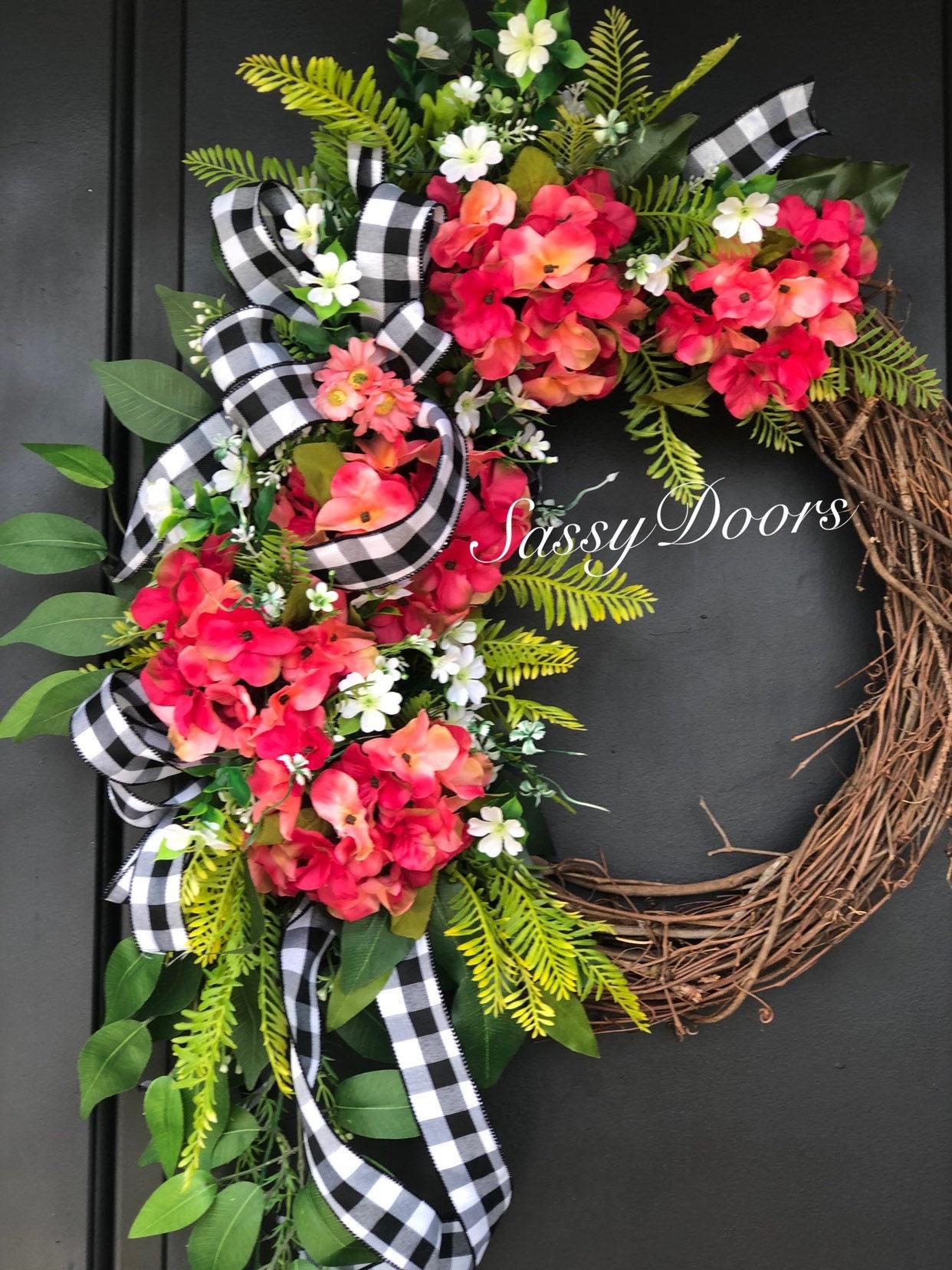 Summer Monogram Wreath Front Door Wreath Monogram Wreath