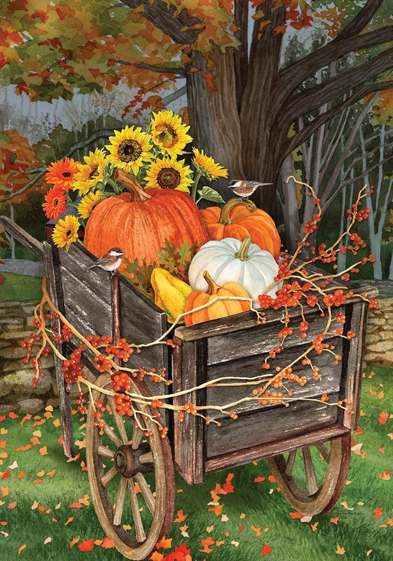 Fall Garden Flag, Pumpkin  Flag,  Sunflower Garden Flag, Farmhouse Decor, Custom Decor Garden Flag, Flag With Pumpkins