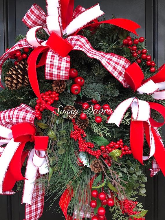 Christmas Wreath, Traditional Christmas Wreath, Merry Christmas Wreath, Red And White Christmas Wreath, Sassy Doors Wreath,