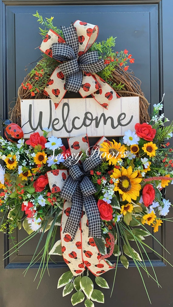 Sunflower Summer Wreath, Sunflower Wreath, Ladybug Wreath, Front Door Wreath, SassyDoors Wreath,