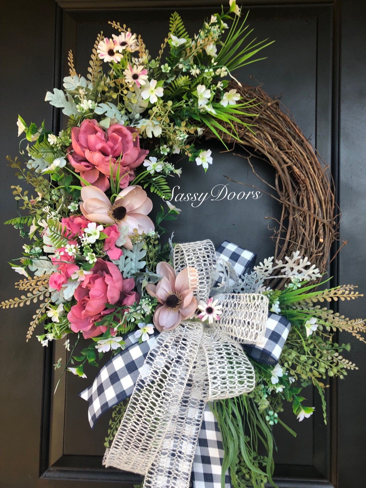 Summer Wreaths, Door Wreath, Peonies Wreath, Wreath For ...