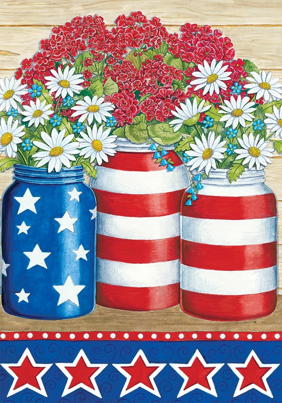 Patriotic House Flag, Summer Flag, House Flag, July 4th Flag, Mason Jar Flag House Flag