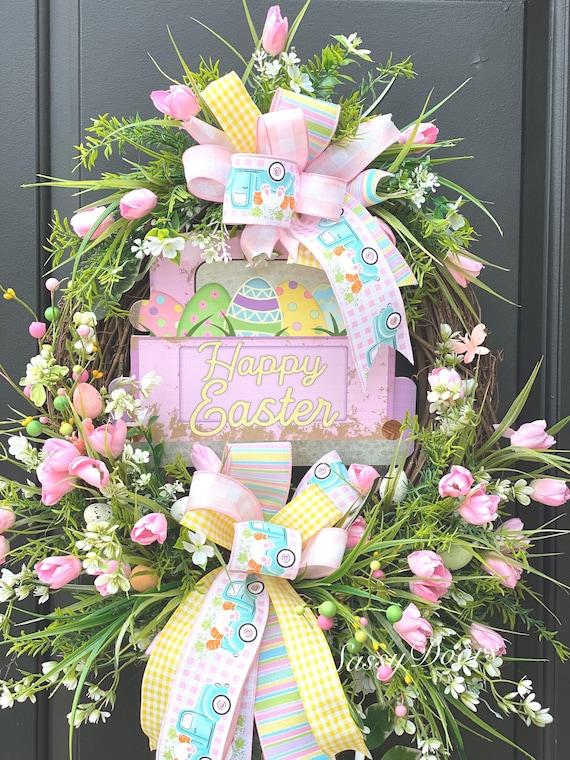 Truck Wreath, Easter Wreaths, Tulip Wreath, Easter Grapevine Wreath, Spring Wreath, Sassy Doors Wreath, Easter Truck Wreath