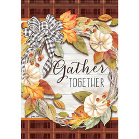 House Flag, Pumpkin Flag, Gather Together Fall  Flag,