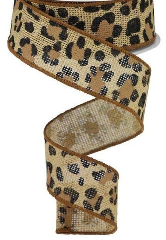 Leopard Print Wired Ribbon, 1 1/2 Inch Ribbon, Burlap leopard Print