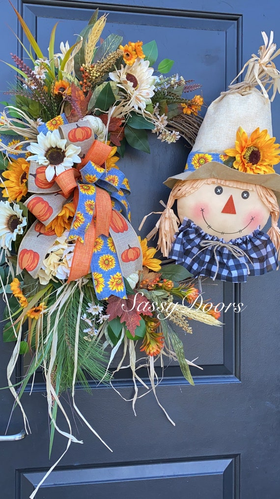 Fall Wreath, Scarecrow Wreath, Fall Pumpkin Wreath, Autumn Wreath, Sunflower Wreath, SassyDoors Wreaths, Farmhouse Wreath
