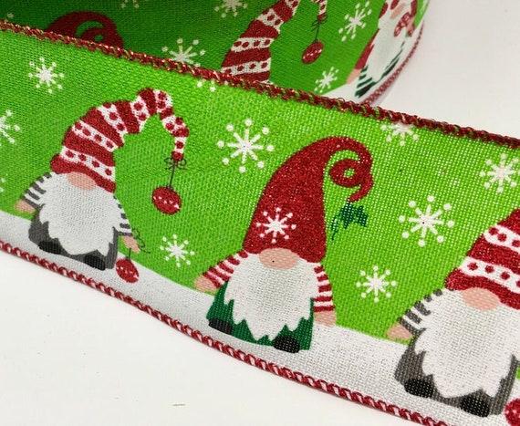 "Gnome Christmas Ribbon, Gnome Ribbon, Christmas Ribbon 2.5""X10yd,"