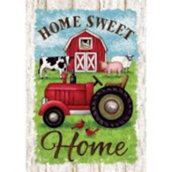Tractor  Flag,  Farmhouse Flag, Farm Animal  Flag, Garden Flag, Farmhouse Garden Flag