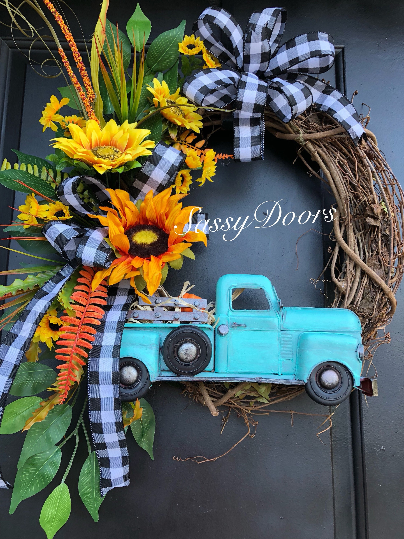 Pleasing Fall Truck Wreath Fall Wreath Truck Wreaths Sunflower Door Handles Collection Olytizonderlifede