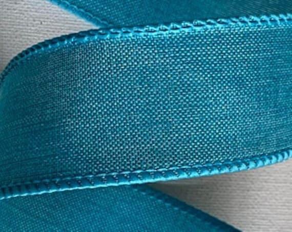 Teal Wired Ribbon, Fall Teal Ribbon, Denim 1 1/2 Inch Ribbon, 1.5 inch Ribbon