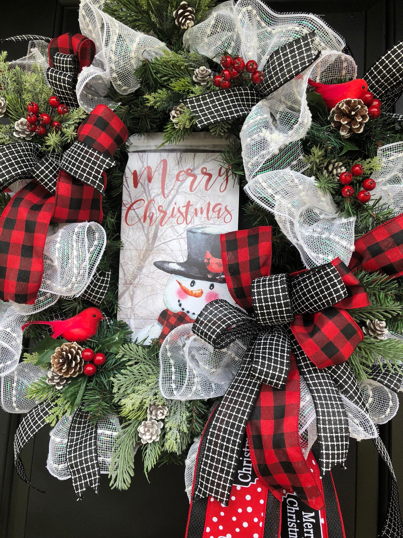 Snowman Wreath Buffalo Plaid Wreath Farmhousewreath