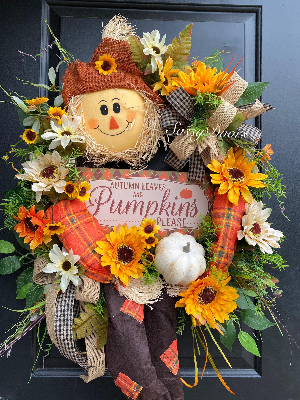 Fall Wreath Scarecrow Wreath Farmhouse Fall Wreath Pumpkin Wreath Sunflower Door Wreath Front Door Wreath Sassy Doors Wreath