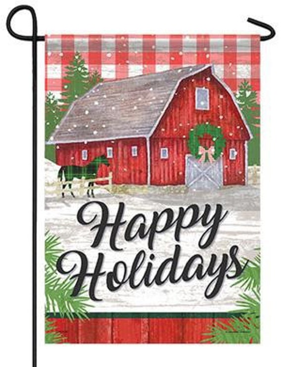 Happy Holiday  Garden Flag- Farm Flag, Country  Farmhouse Flag, Horse Christmas Flag
