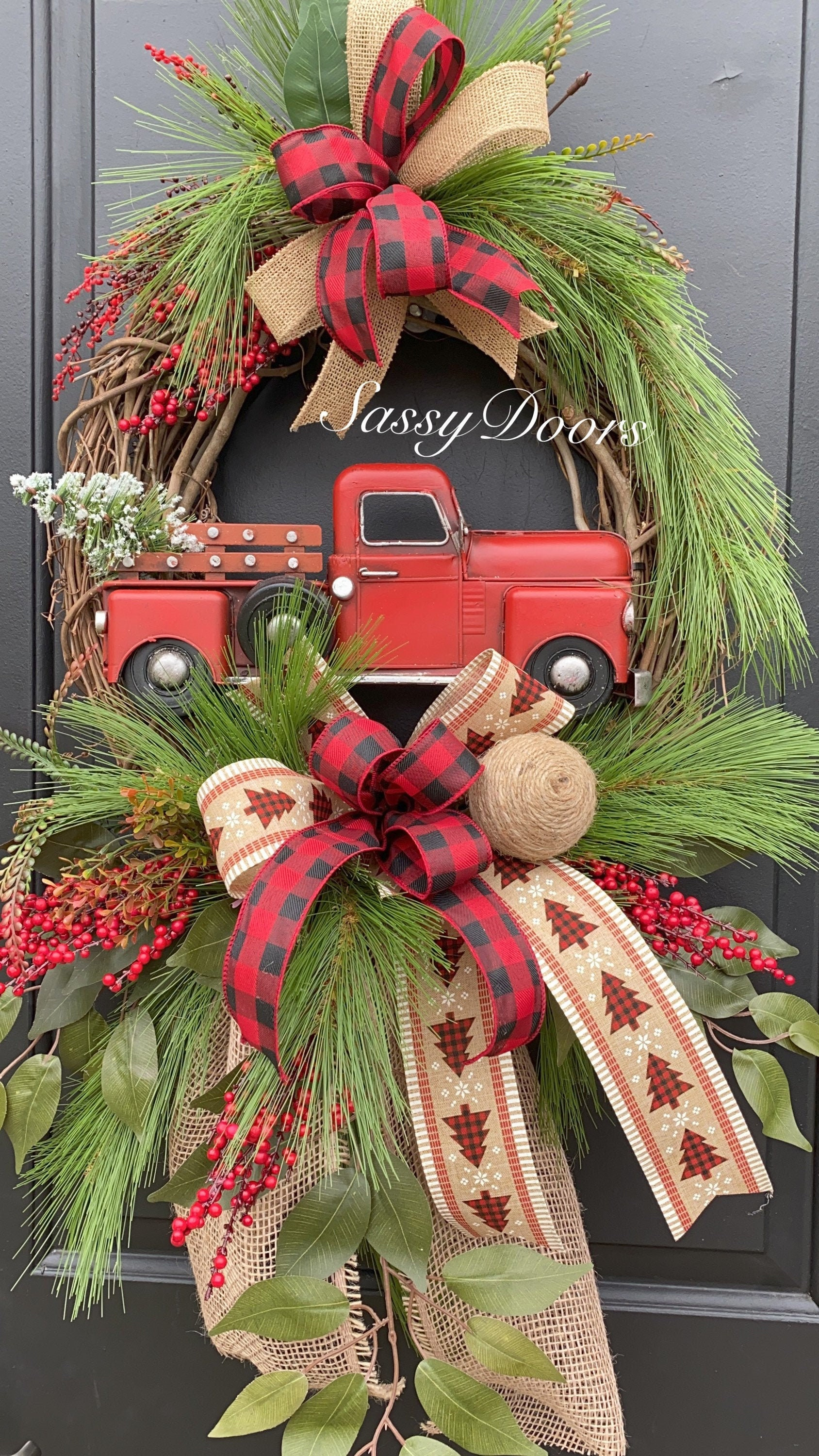 Red Truck Christmas Wreath Grapevine Christmas Wreath Rustic Wreath Farmhouse Christmas Wreath Sassy Doors Wreath