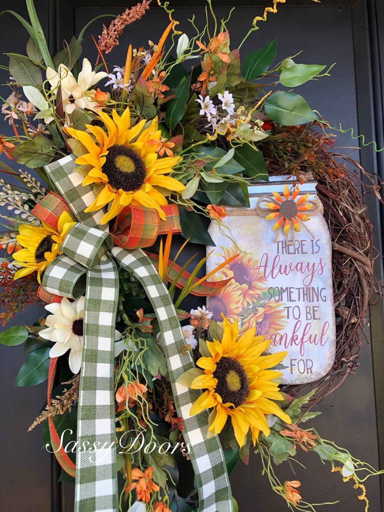 Fall Wreath Sunflower Wreath Front Door Wreath Autum Wreath Grapevine Wreath Thanksgiving Wreath Sassy Doors Wreath