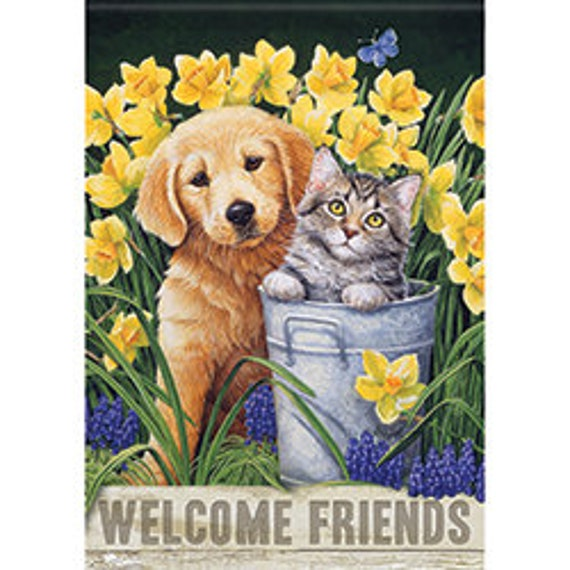 Furry Friends Flag-Dog And Cat Flag- Flag With Cat And Dog,  Animal Lovers Flag- Garden Flag,