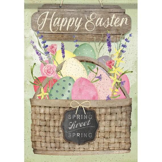 EasterEgg Basket, Easter Basket  Garden Flag, Easter Flag, EasterEgg  Flag