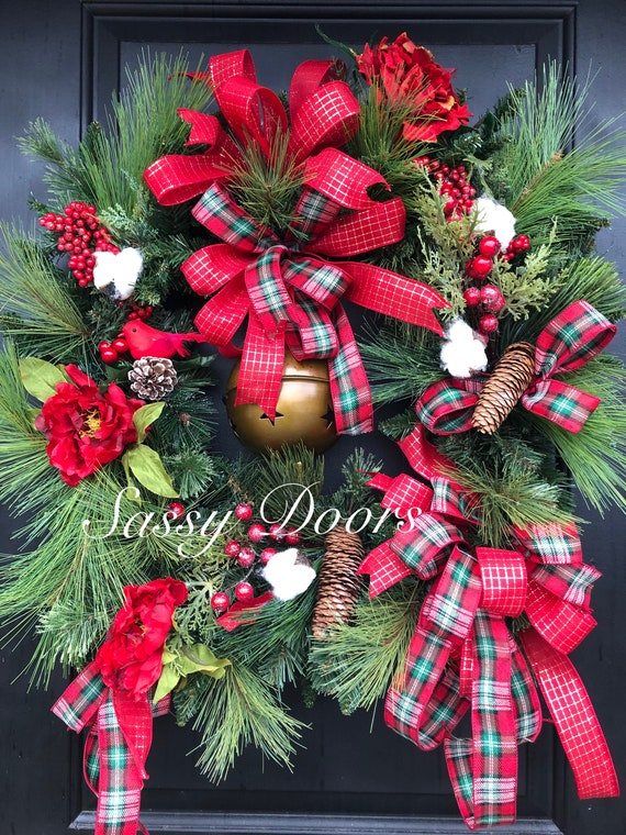 Christmas Wreath , Cardinal Wreath, Woodland Christmas Wreath, Christmas Front Door Wreath, Winter Wreath For Door,
