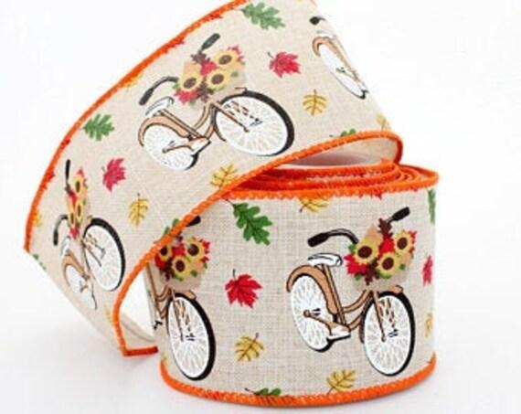Fall Bicycle Print Ribbon, Fall Leaves  Ribbon, Fall  Wired Ribbon, 2 1/2 Inch Ribbon,