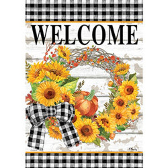 Sunflower Flag, Fall Flag, Garden Flag, Pumkin Flag, Buffalo Plaid Flag