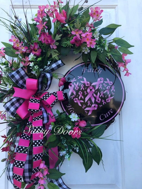 Breast Cancer Awareness Sunflower Wreath, Pink Wreath, Everyday Breast Cancer Sunflower Wreath, Sassy Doors Wreath,