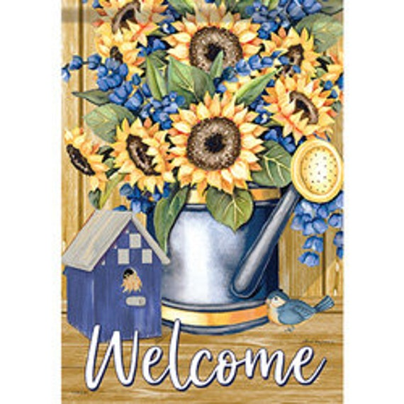 Sunflower Flag, Flag With Birds,Welcome Flag, Garden Flag, Carson Flag, Garden Flag