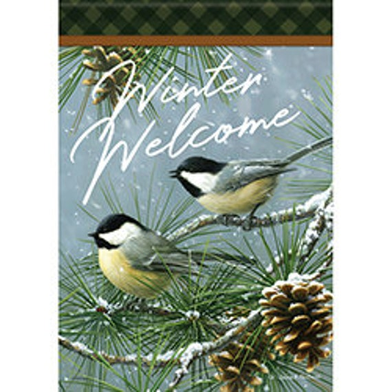 Winter Flag, Winter Chickadee House Flag, Bird Flag, Snow Flag, Flag, Winter House Flag