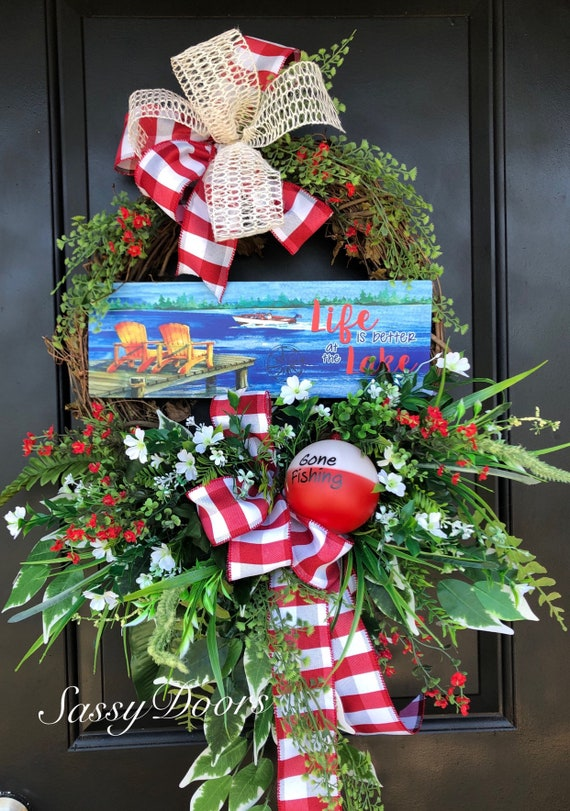 Lake Door Wreath, Lake House Door Wreath, Grapevine Wreath, Summer Front Door Wreath, Lake Wreath, Fishing Wreath,