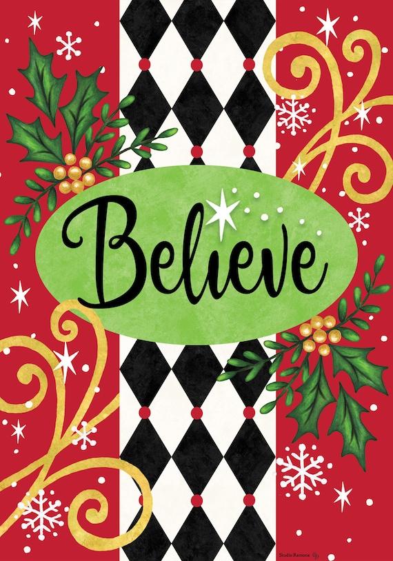 Believe Christmas Flag, Christmas Garden Flag,