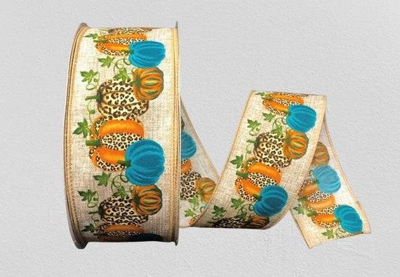 Cheetah Print Ribbon, Pumpkin Ribbon, Animal Print Wired Ribbon, 2 1/2 Inch Ribbon, Cut Ribbon