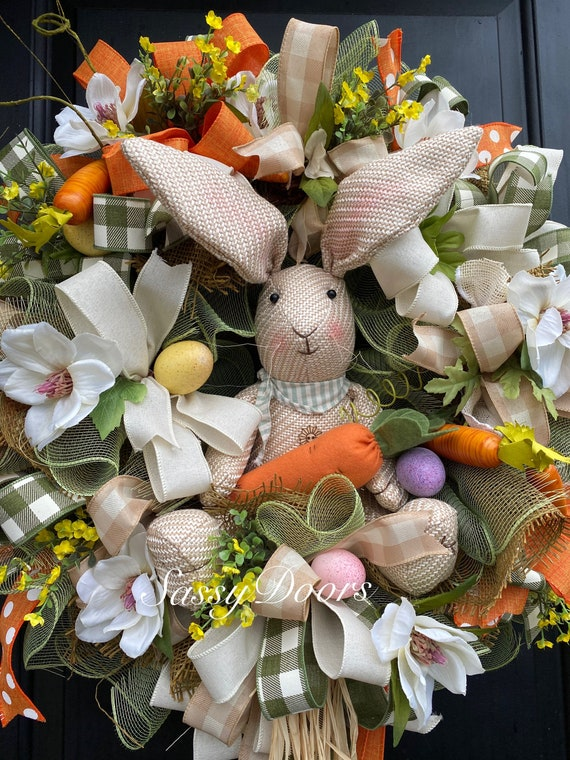 Easter Bunny Wreath, Farmhouse Easter Bunny, Bunny Wreath, Sassy Doors Wreath,