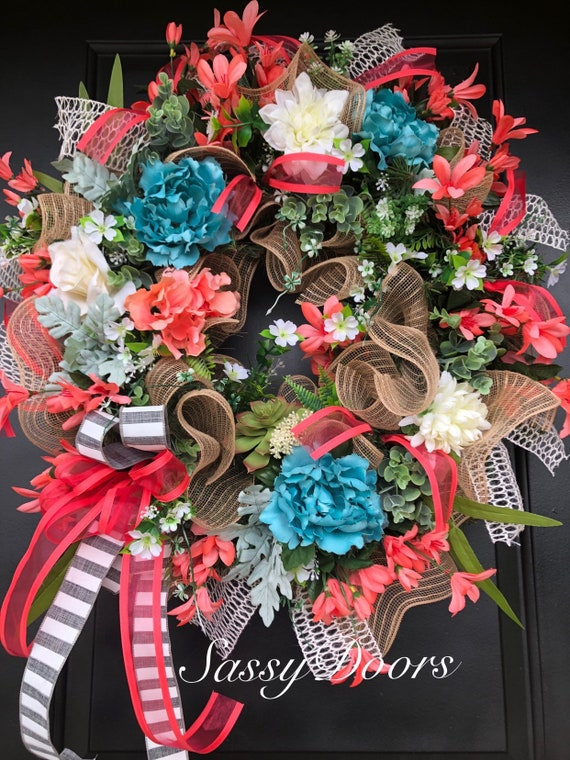 Summer Wreaths, Wreath ,Grapevine Wreath, Summer Wreath, Sassy Doors Wreath, Coastal Door Wreath,