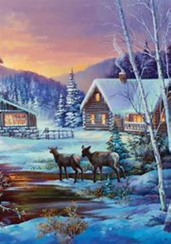 Winter Flag, Winter Cabin Flag,Winter Deer Flag, Snow Flag
