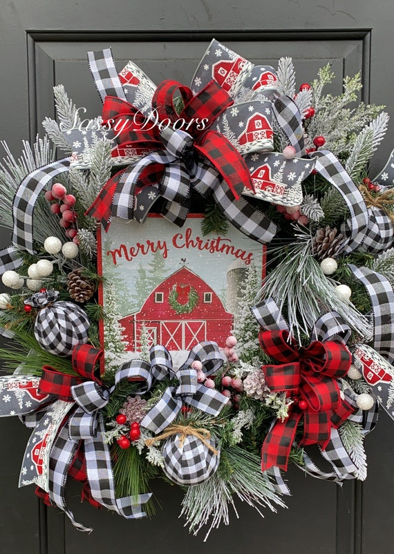 Farmhouse Christmas Wreath, Christmas Door Wreath, Red Barn Christmas Wreaths, Farmhouse Wreath,