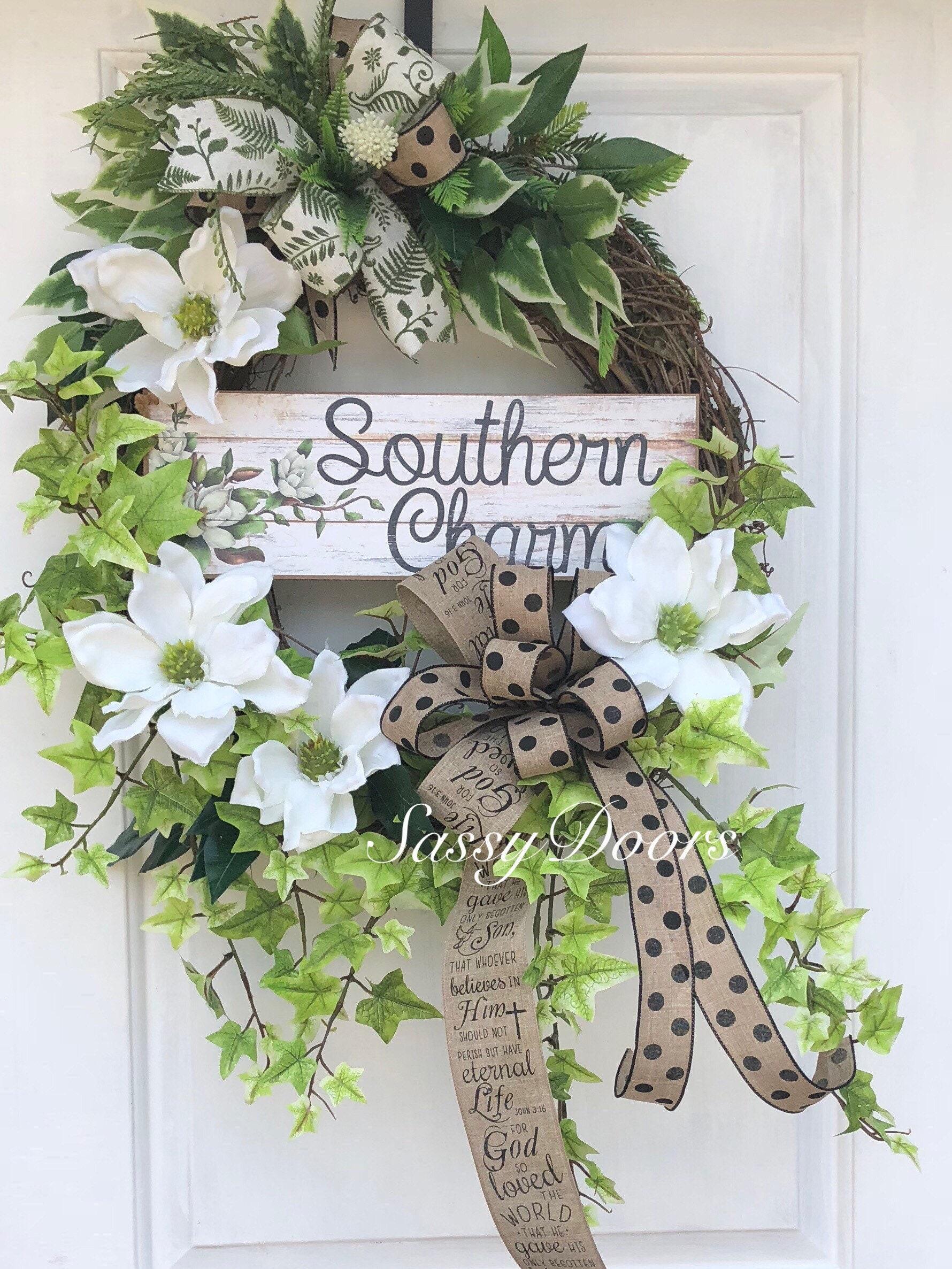 Summer Wreath Southern Front Door Wreath Magnolia Wreath