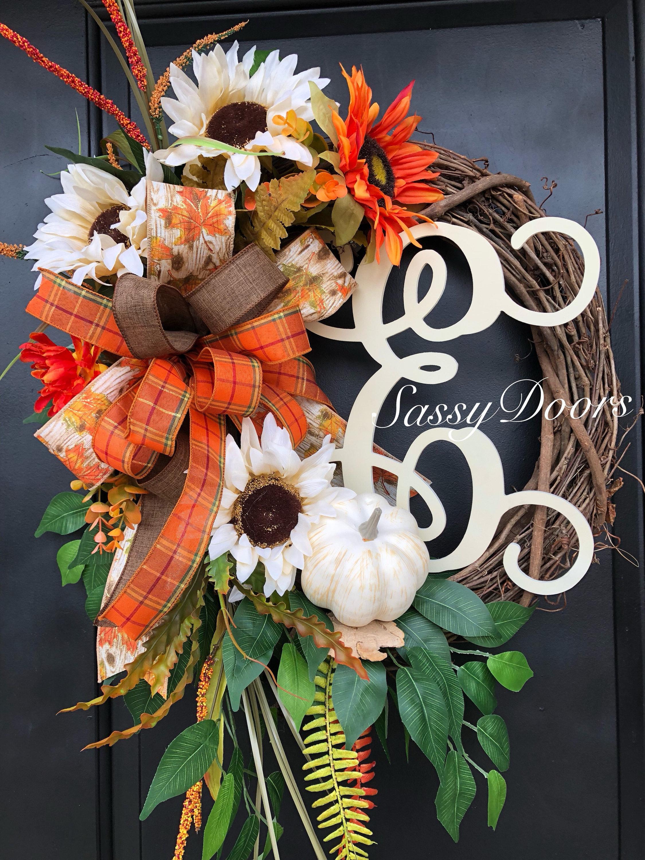Fall Monogram Wreath Fall Wreath Hydrangea Wreath Front Door