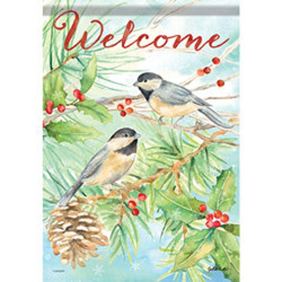 Winter House Flag, Winter Chickadee Bird Flag, Snow Flag, Bird Flag, Winter Garden Flag