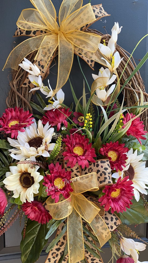 Fall Coastal Wreath, Fall Wreath , Succulent Wreath, Front Door Wreath-Sunflower Wreath, Pumpkin Wreath- SassyDoors Wreath