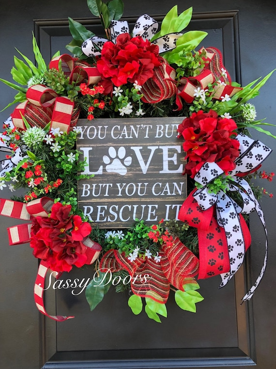 Dog Paws Wreath, Animal Lovers Wreath For Front Door, Everyday Door Wreath Sassy Doors Wreath, Awarness Wreath