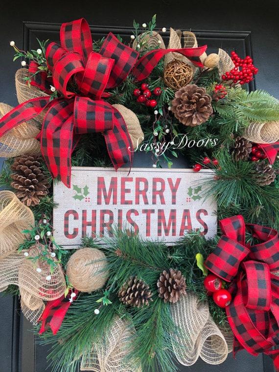 Christmas Wreath, Buffalo Plaid Christmas Wreath, Woodland Christmas Wreath, Rustic Christmas Wreath, Christmas Decor