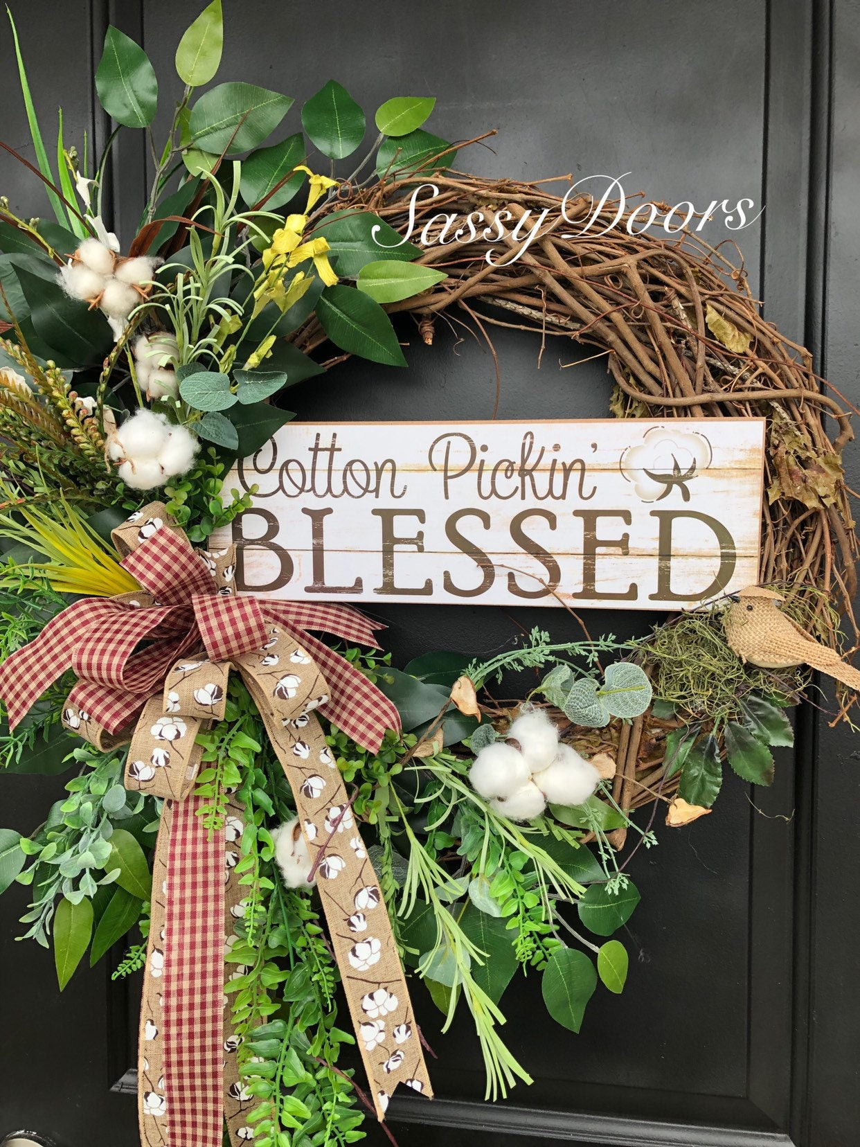 Everyday Wreath Cotton Wreath Wreath With Cotton Grapevine Farmhouse Wreath Farmhouse Decor Farmhouse Front Door Wreath Sassy Doors
