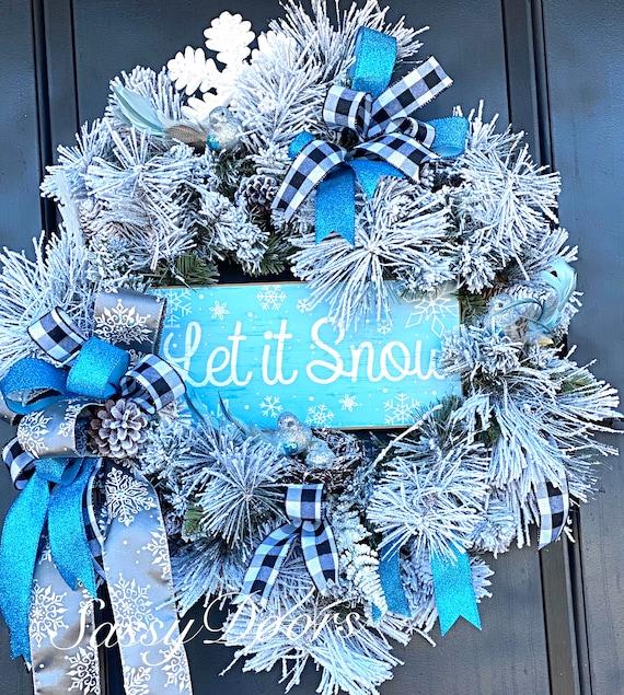 Winter Wreath,SnowlWreath, Winter Front Door Wreath, WinterWreath for Front Door,