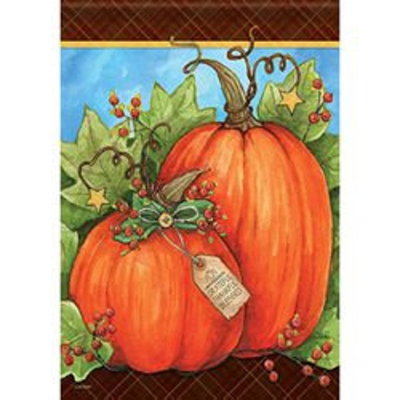 Pumpkin Duo House Flag, Large Pumpkin Flag, Fall  Flag, Welcome Flag, House Flag,