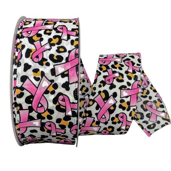 Pink Cheetah Print Wired Ribbon, 1 1/2 Inch Ribbon, Breast Cancer ribbon, Pink Ribbon,  Animal Print