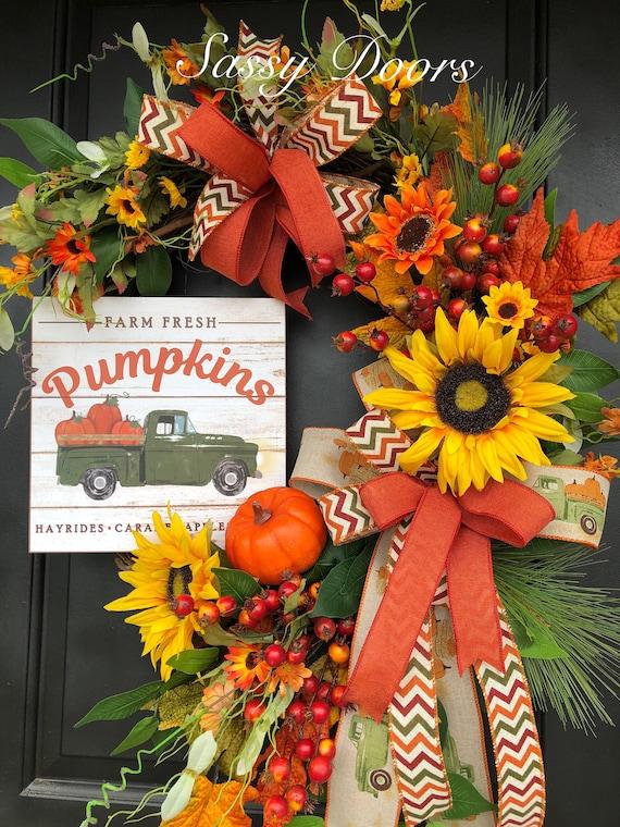 Fall Sunflower Wreath- Fall Pumpkin Wreath-Front Door Wreath- Fall Farmhouse Wreath- Fall Welcome Y'all Wreath-Fall Truck Wreath