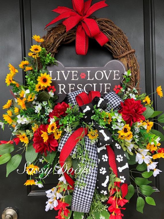 Everyday Wreath, Dog Rescue Wreath,  Paw Print Wreath, Animal Lovers Wreaths, Front Door Wreath, Awareness Door Wreath, Sassy Doors Wreath