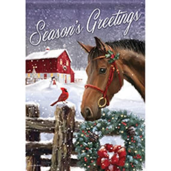 Horse Christmas Garden Flag- Red Barn Christmas Flag-  Farmhouse Garden Flag-