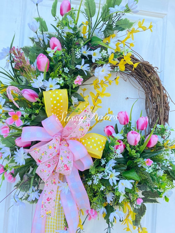 Spring Wreath, Tulip Door Wreath, Spring Grapevine Wreath, Mother's Day Wreath Sassy Doors Wreath